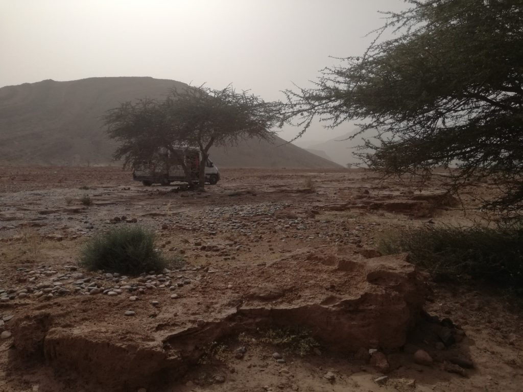 un petit peu d'ombre dans le desert de Tata