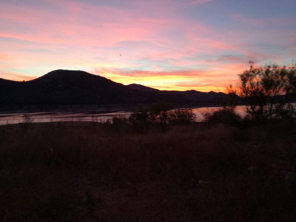couché de soleil au lac d'Iznajar e